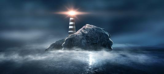 Abstract, futuristic background, lighthouse on the mountain. Night sea view, water reflection of light. Illuminations. Dark seascape, abstract scene, neon rays