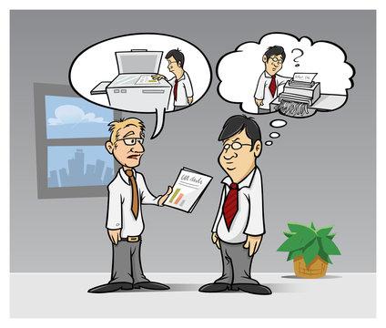 cartoon vector illustration of a language barrier