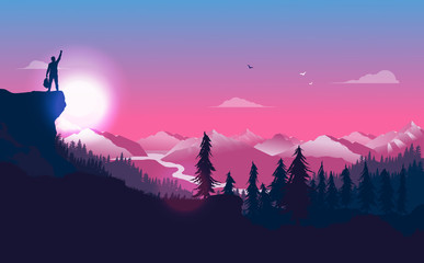 Man at peak with raised hand and backpack looking at the beautiful view of nature, valley and mountains. Conquering life, happiness, freedom and new beginning concept. Vector illustration. Fotomurales