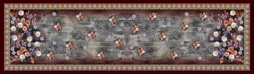 High Definition, Beautiful and colorful flowers with stylish baroque ornament border design for digital textile
