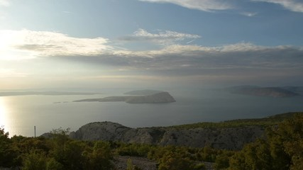 Wall Mural - Adriatic Sea and Croatian Scenic Landscape During Sunset. Northwest Croatia.