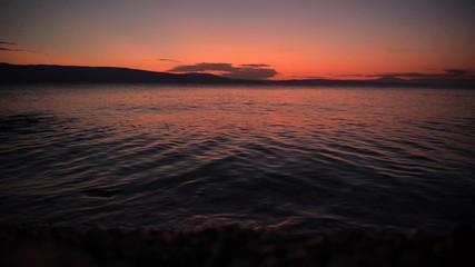 Wall Mural - Scenic Rocky Coast Photo Background. Adriatic Sunset Scenery. Croatia, Europe.