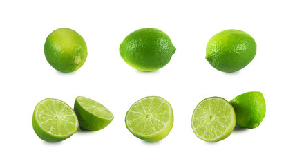 Set of fresh lime whole and halves isolated on white background Wall mural