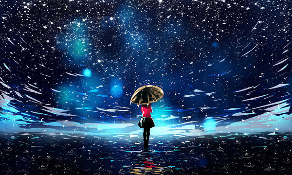 Beautiful Night Sky with Falling Rain and Umbrella Girl Illustration