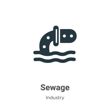 Sewage glyph icon vector on white background. Flat vector sewage icon symbol sign from modern industry collection for mobile concept and web apps design.