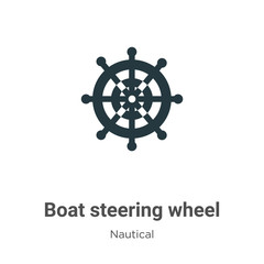 Boat steering wheel glyph icon vector on white background. Flat vector boat steering wheel icon symbol sign from modern nautical collection for mobile concept and web apps design.