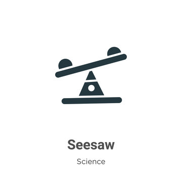 Seesaw glyph icon vector on white background. Flat vector seesaw icon symbol sign from modern science collection for mobile concept and web apps design.