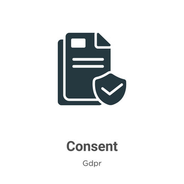 Consent glyph icon vector on white background. Flat vector consent icon symbol sign from modern gdpr collection for mobile concept and web apps design.