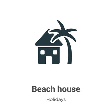Beach house glyph icon vector on white background. Flat vector beach house icon symbol sign from modern holidays collection for mobile concept and web apps design.