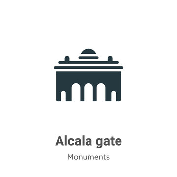 Alcala gate glyph icon vector on white background. Flat vector alcala gate icon symbol sign from modern monuments collection for mobile concept and web apps design.
