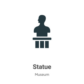 Statue glyph icon vector on white background. Flat vector statue icon symbol sign from modern museum collection for mobile concept and web apps design.