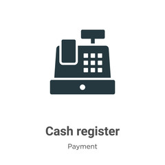 Cash register glyph icon vector on white background. Flat vector cash register icon symbol sign from modern payment methods collection for mobile concept and web apps design.