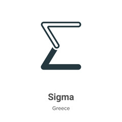 Sigma glyph icon vector on white background. Flat vector sigma icon symbol sign from modern greece collection for mobile concept and web apps design.