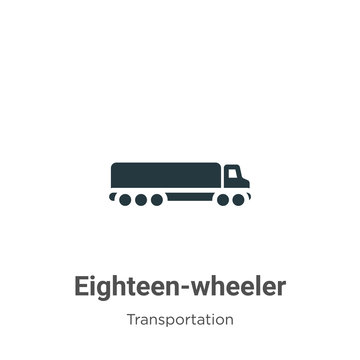 Eighteen-wheeler glyph icon vector on white background. Flat vector eighteen-wheeler icon symbol sign from modern transportation collection for mobile concept and web apps design.