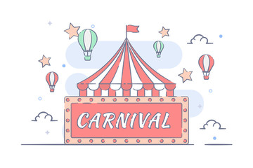 Happy Carnival Festive Concept with circus tent line filled illustration