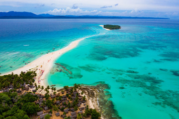 Aerial view of sand bridge between Nosy Iranja and Nosy Kely in Madagascar