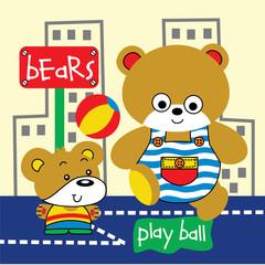 Vector illustration play ball soccer player cartoon, bears