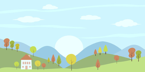 Panorama view of house on hill countryside landscape. Vector summer or spring landscape with trees, mountains and house.