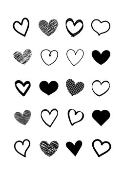 Set of scribble black hearts. Collection of heart shapes draw the hand. Symbol of love. Design elements for Valentine's Day card. Vector hearts. Vector illustration.