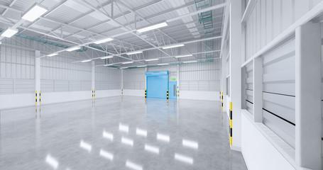 3d rendering of empty factory building