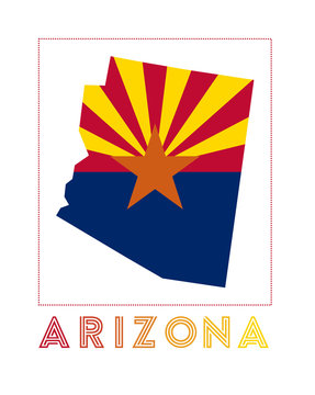 Arizona Logo. Map of Arizona with us state name and flag. Modern vector illustration.