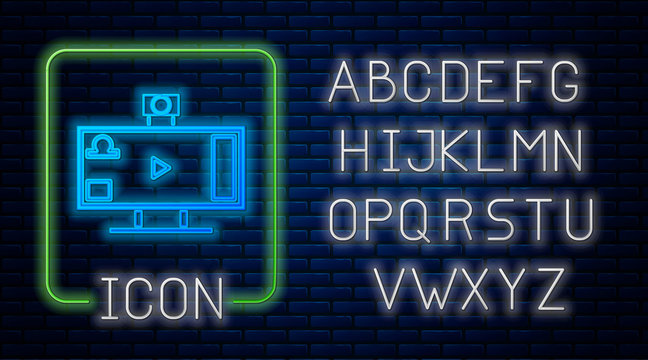 Glowing neon Live streaming online videogame play icon isolated on brick wall background. Neon light alphabet. Vector Illustration