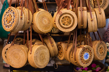 Handicraft weave handbag selling at the Chatuchak weekend market,Bangkok.