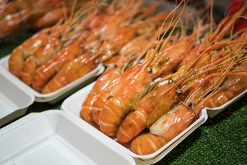 Giant prawns selling at the night market,Bangkok Thailand.