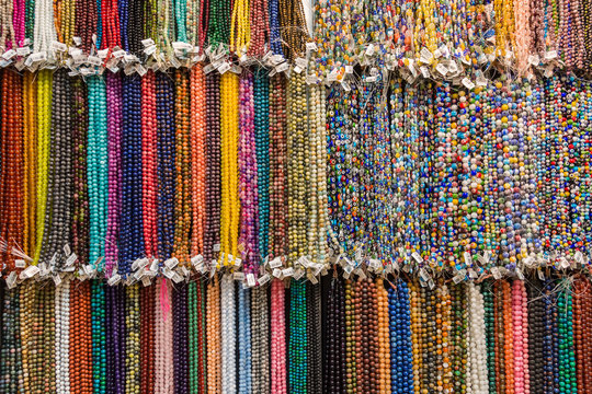 Various type of women necklace beads selling at the stall in Bangkok,Thailand