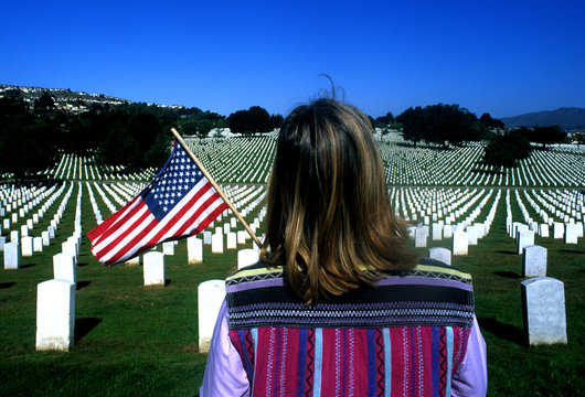 Person visiting the Golden Gate National Cemetery, San Bruno, California