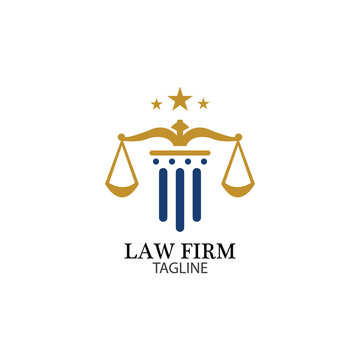 Law Firm logo and icon design template-vector