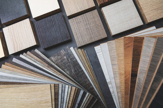 variety of wood texture furniture and flooring material samples for interior design