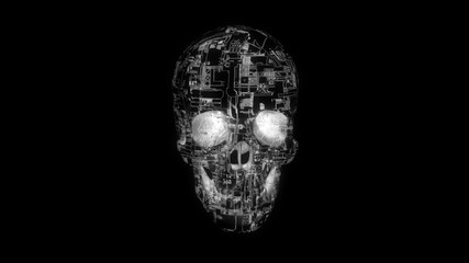 Hacker attack - white on black glowing computer circuit textured skull 3D model illustrating malware and infection