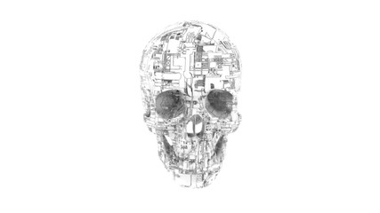 Hacker attack - computer circuit textured skull 3D model illustrating malware and infection