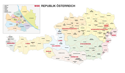 new administrative and political map of austria in german language, 2020 Fototapete