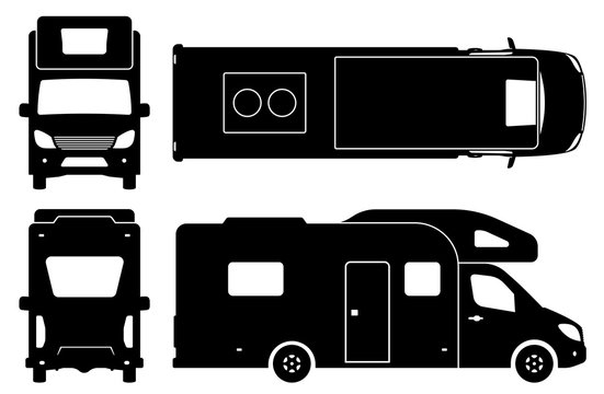 Recreational vehicle silhouette on white background. Camper van icons set view from side, front, back, and top