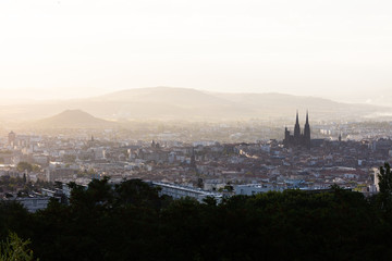 Panoramic view of the city of Clermont-Ferrand with its cathedral
