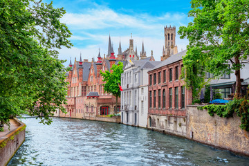 Wall Murals Bridges Groenerei canal and architecture of old Bruges with Belfort tower, Belgium