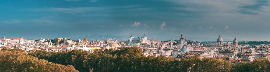 Rome, Italy. Cityscape Skyline With Famous Pantheon, Churches As Sant'agnese, Santa Maria Della Pace, St. Salvatore At The Laurels And Vittorio Emanuele II Monument Or Altar Of Fatherland. Panorama Fototapete