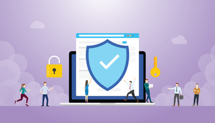 internet security concept with browser and people with modern flat style - vector