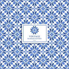 Papiers peints Style Boho Blue and white vintage vector seamless pattern, wallpaper. Elegant classic texture. Luxury ornament. Great for fabric and textile, wallpaper, or any desired idea.