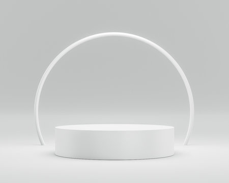 Empty podium or pedestal display on white background with circle ring and success concept. Blank product shelf standing backdrop. 3D rendering.