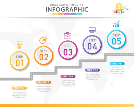 Infographic template for business. 5 Steps Modern Timeline diagram with Road journey concept. presentation vector infographic.