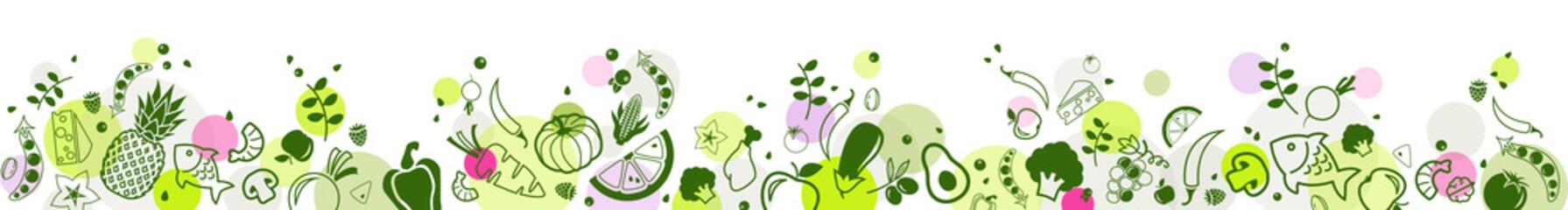 healthy & colourful food banner 2 – bottom border - vector illustration
