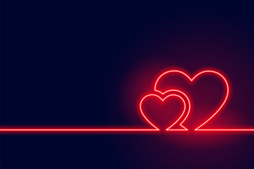 glowing red neon heart valentine day background