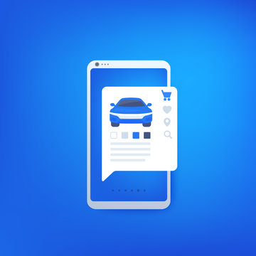 buy car online with mobile app, e-commerce concept, vector