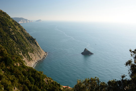 Coastline view from Monesteroli. La Spezia province. Liguria. Italy