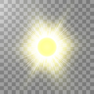 Bright shining sun Isolated on transparent background. Glow light effect. Vector illustration