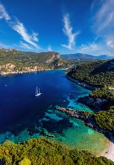 Photo sur Aluminium Europe Méditérranéenne Aerial of mediterranean bay on Corfu island