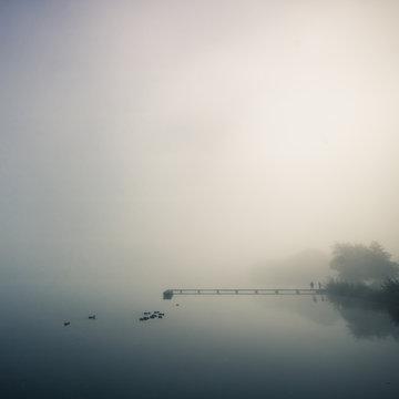 ponton sur un lac le matin dans le brouillard